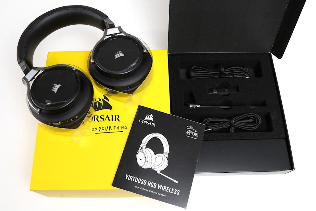 Lieferumfang zum Corsair Virtuoso Headset