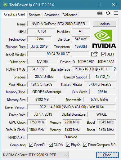 KFA2 RTX 2080 Super EX Overclocking GPU-Z