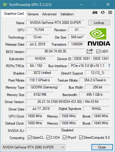 KFA2 RTX 2080 Super EX Standard Takt GPU-Z