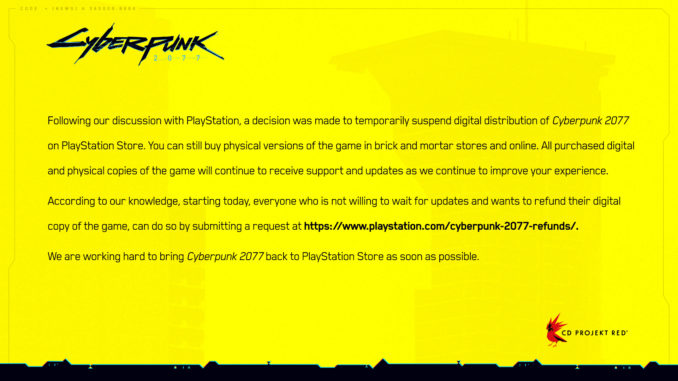 cyberpunk 2077 zurückgeben