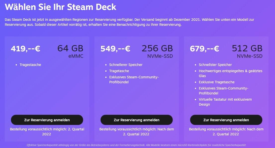 valve steam deck kaufen