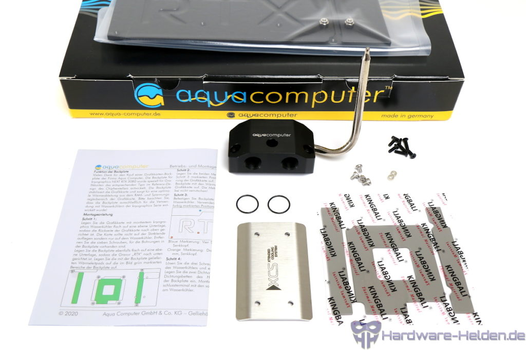 Aqua Computer backplate lieferumfang